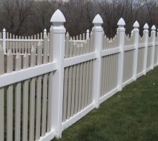 A picture of a vinyl fence